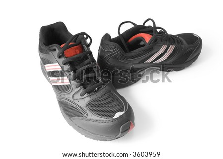 black jogging shoes isolated on white - stock photo