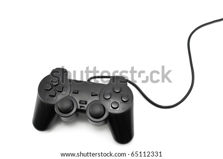 black joystick isolated on the white background - stock photo