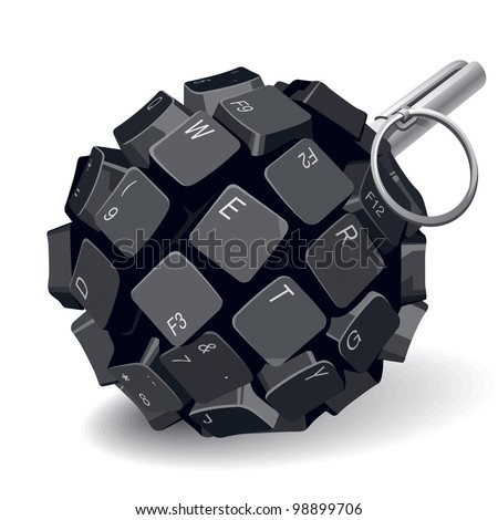 Black Keyboard Grenade on White Background. Rasterized Version - stock photo