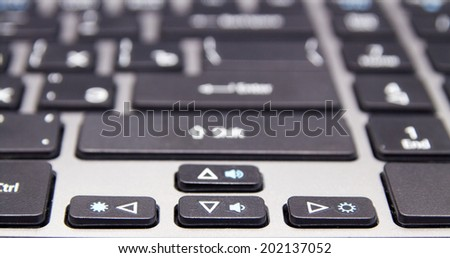 black keyboard with white letters, macro - stock photo