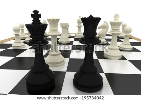 Black king and queen with white pieces on white background