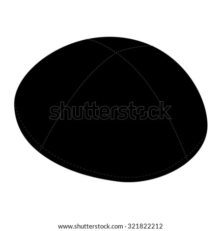Black kippah, jewish traditional hat raster isolated on white