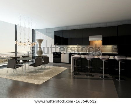 Black kitchen interior with bar stools and dining table - stock photo