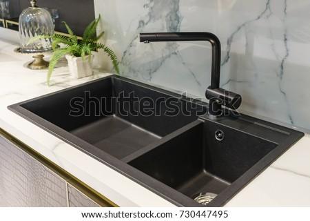 Black Kitchen Sink Tap Water Kitchen Stock Photo 730447495 ...