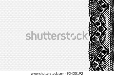 Black lace and grey mesh background. May be used as your business card or flyer. Raster. - stock photo