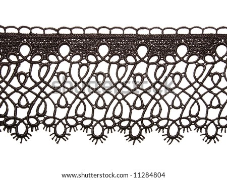 black lace border isolated over white - stock photo