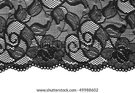 Black lace insulated on white background - stock photo