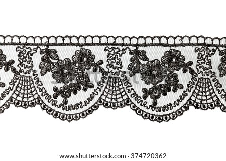 black lace on white background - stock photo