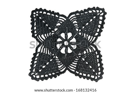 Black lace with pattern on white background - stock photo