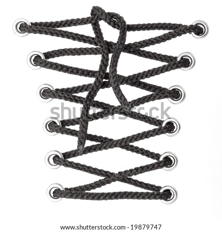 black laces isolated on white background - stock photo