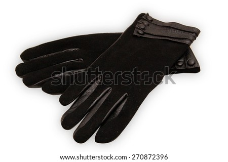 black ladies leather gloves isolated on white background  - stock photo