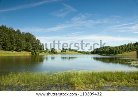 Black Lake in the Suwalki region Osinkach. Poland - stock photo