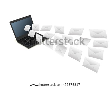 Black laptop and flying letters on white background