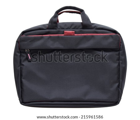 black laptop bag isolated on white background with clipping path