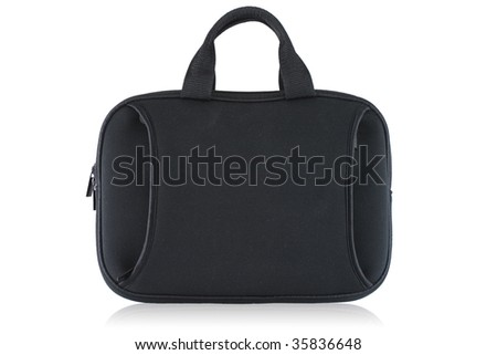 Black laptop case isolated on white background. - stock photo
