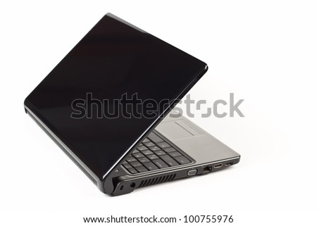 black laptop half open rear view isolated on white background - stock photo
