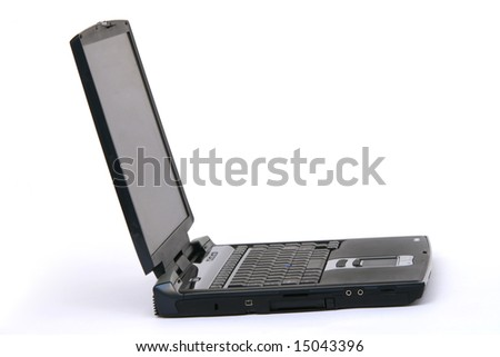 black laptop isolated on white background business and technology