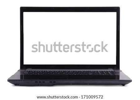 Black laptop on a white background - stock photo