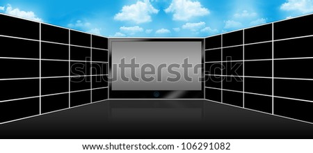 Black LCD Plasma TV Screen and Panel of Blank Wide Screen Monitor for Text Message  With Blue Sky Background Above - stock photo