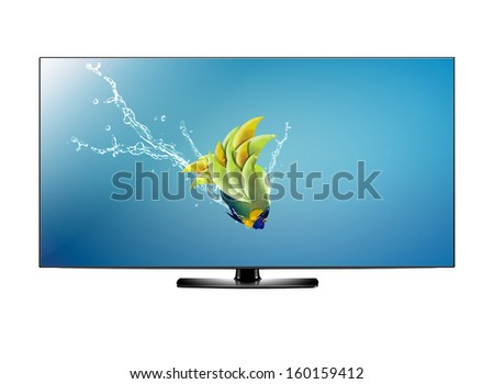 Black LCD tv screen and fish with water splash .  (with clipping work path) - stock photo