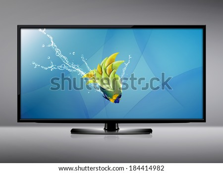 water tv black lcd tv screen hanging on stock photo 96592003 shutterstock