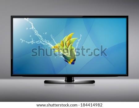 water tv black lcd tv screen hanging on stock photo 96592003 shutterstock
