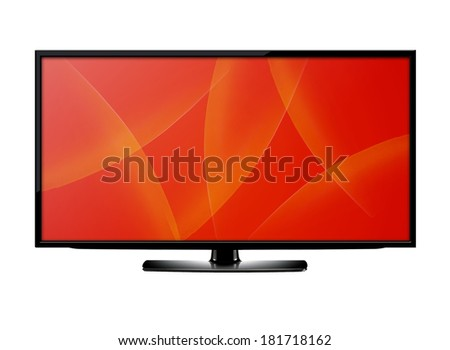 Black LCD tv screen hanging on a wall.  (with clipping work path)