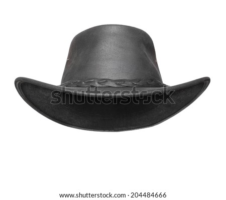 Black leather australian hat with space for your funny face. - stock photo