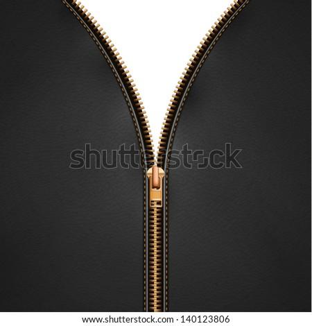 Black leather background with open metallic zipper  - raster version - stock photo