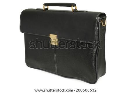 Black leather bag on white background - stock photo