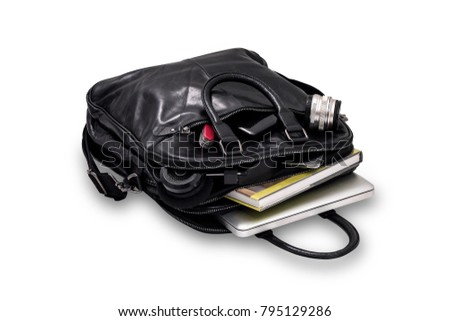 Black Leather Bag with Laptop, book and gadget