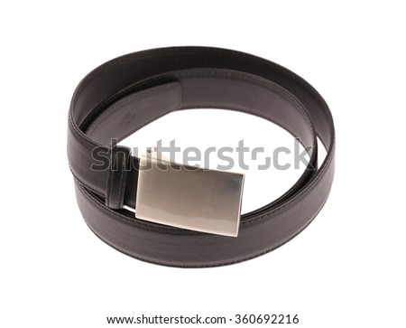 Black leather belt isolated on white background