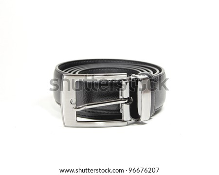 Black leather belt on white background