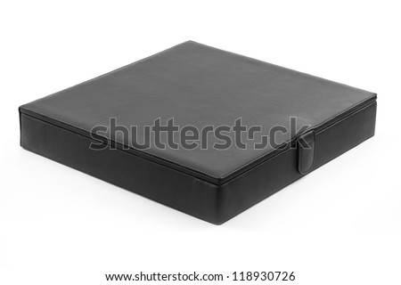 Black leather box - stock photo