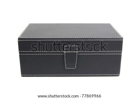 Black leather box on a white background