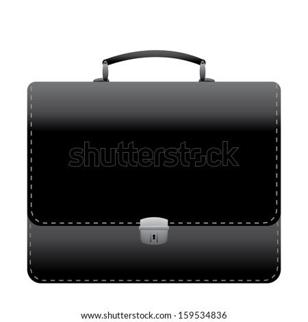 Black leather briefcase illustration. Isolated on white background.