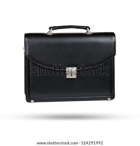 Black leather briefcase isolated on the white background - stock photo