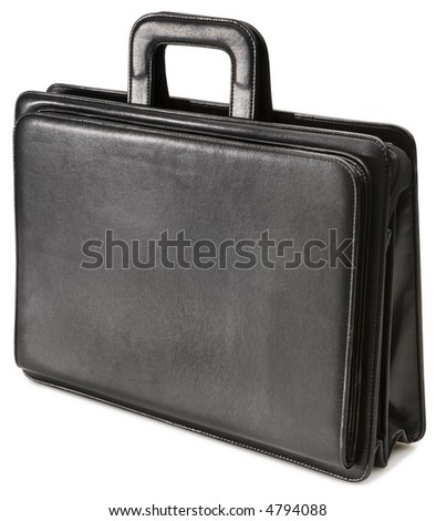 Black Leather Briefcase - isolated on white - stock photo