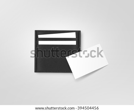 Black leather call card holder with blank white card mock up isolated on grey. Visiting calling cards mockup sleeve cardholder pocket. Clear paper cards branding in grey wallet box. Logo design card - stock photo