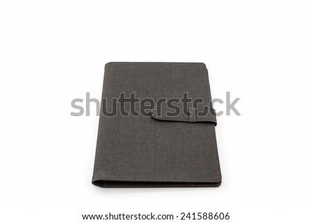 Black leather case on white background  - stock photo