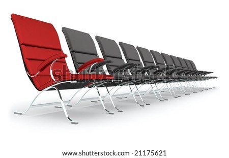 Black leather chairs with red leading - stock photo