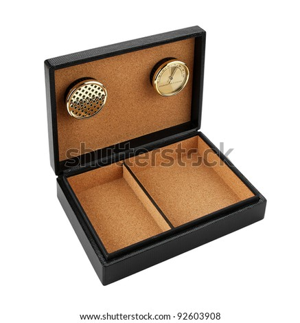 black leather cigar humidor isolated on white background - stock photo