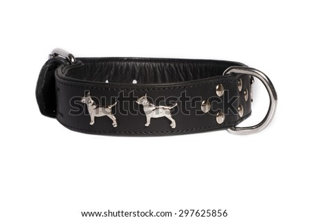 black leather collar for dog isolated on white background - stock photo