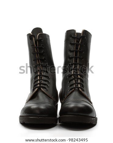 Black leather combat boots, isolated