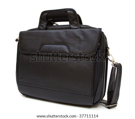 Black leather computer bag with strap isolated on white background - stock photo