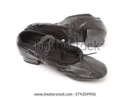Black leather dance shoes