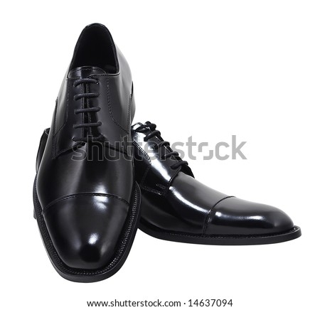 Black leather executive shoes. Clipping path included. - stock photo