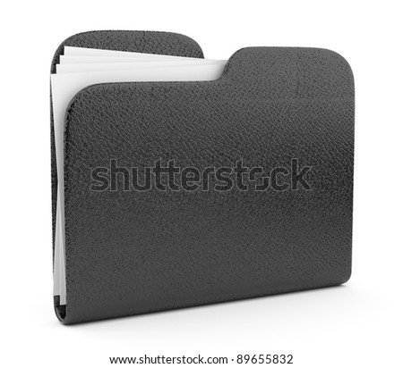 Black leather folder. File 3D.  Icon isolated on white background - stock photo