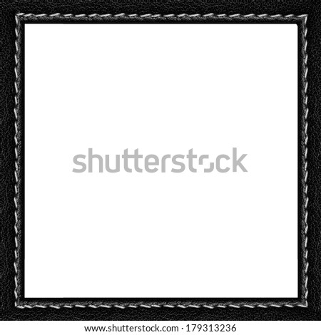 black leather frame with white seam isolated
