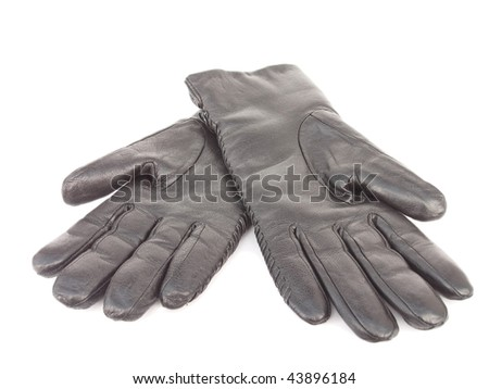 Black leather gloves isolated, object on white background